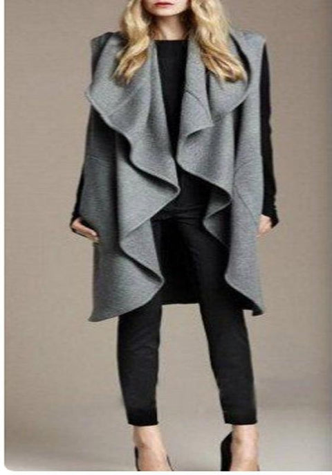DaysCloth Grey Irregular Draped Oversized Cardigan Jacket Cloak Fashion Coat