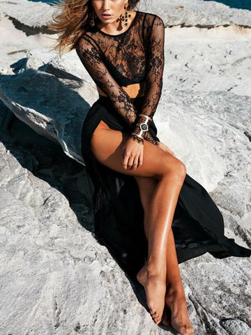 Black Lace Crop Top And High Waist Thigh Split Maxi Skirt