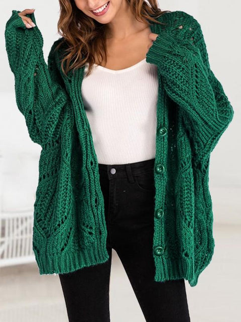 DaysCloth New Green Single Breasted V-neck Dolman Sleeve Oversize Cardigan Sweater