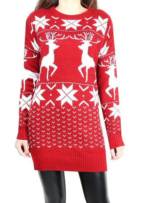 DaysCloth Red Reindeer Print Round Neck Long Sleeve Casual Christmas Long Pullover Sweater