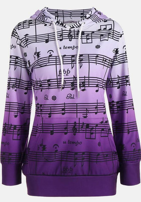 DaysCloth Purple Floral Print Drawstring Hooded Long Sleeve Pullover Sweatshirt