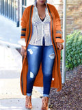 New Orange-Black Striped Pockets Long Sleeve Casual Cardigan Sweater