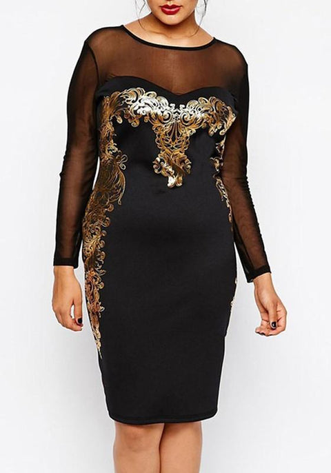 DaysCloth Black Patchwork Grenadine Cut Out Plus Size Gilding Long Sleeve Elegant Midi Dress