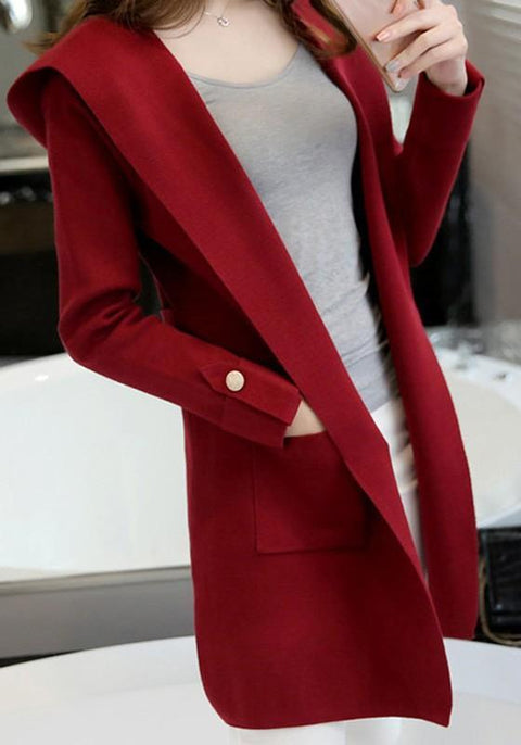 DaysCloth Red Pockets Hooded Plunging Neckline Long Sleeve Cardigan Coat