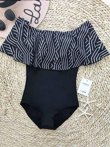 DaysCloth Cute Bateau Off The Shoulder One Piece Bikini