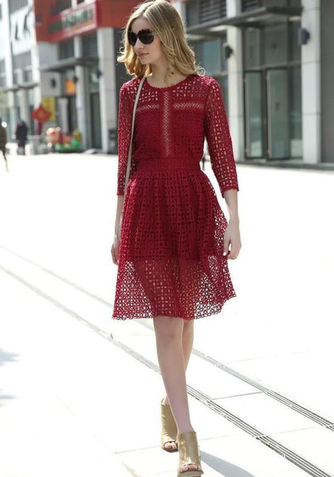 DaysCloth Red Patchwork Lace Hollow-out Draped 3/4 Sleeve A-line Slim Homecoming Midi Dress