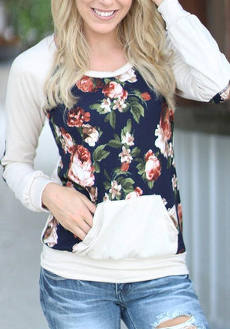 Apricot Floral Print Pockets Round Neck Casual Pullover Sweatshirt