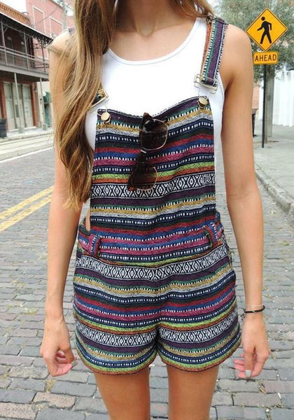 Multicolor Striped Buttons Shoulder-Strap Elastic Waist Vintage Short Jumpsuit