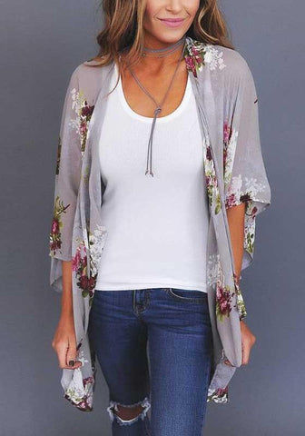 Grey Floral Draped Elbow Sleeve Casual Loose Outerwear
