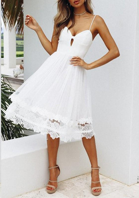 DaysCloth White Spaghetti Strap Lace Double-deck Cut Out V-neck Flowy Party Midi Dress