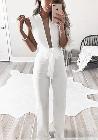 White Patchwork Grenadine Sashes High Waisted Party Wide Leg Long Jumpsuit