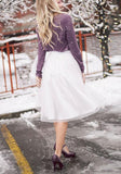 White Grenadine Fluffy Puffy Tulle Homecoming Party High Waisted Cute Sweet Skirt