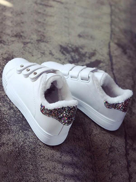 New White-Golden Round Toe Flat Sequin Velcro Fashion Shoes