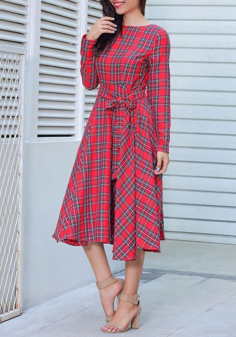 DaysCloth Red Plaid Belt Draped Round Neck Long Sleeve Vintage Midi Dress