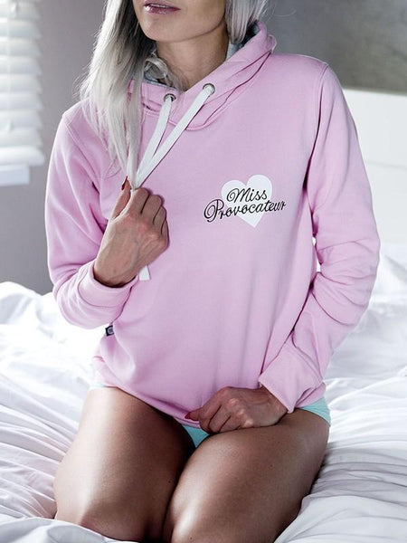 New Pink Love Letter Drawstring Hooded Long Sleeve Casual Pullover Sweatshirt