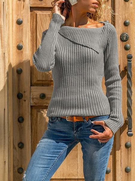 New Grey Patchwork Irregular Collar Casual Pullover Sweater