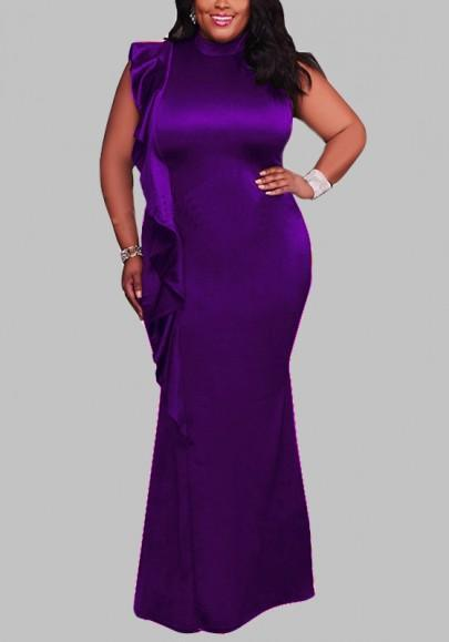 DaysCloth Purple Ruffle Draped Bodycon Plus Size High Neck Elegant Cocktail Party Maxi Dress