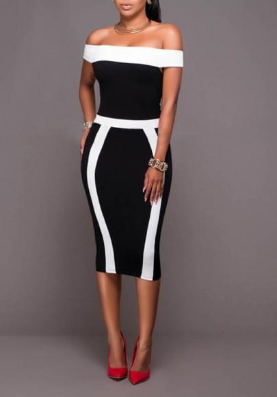 DaysCloth Black-White Patchwork Bandeau Boat Neck Off-shoulder Bodycon Prom Party Midi Dress