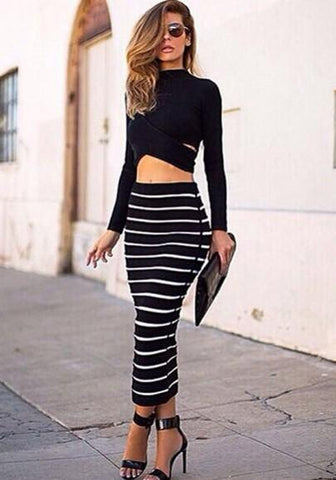 DaysCloth Black White 2-in-1 Crop Top Bodycon Striped Skirt Bandage Club Party Dress Twinset For Women