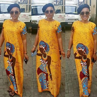 DaysCloth Yellow Tribal Print Round Neck Short Sleeve Floor Length Plus Size Fashion National Africa Bubu Maxi Dress