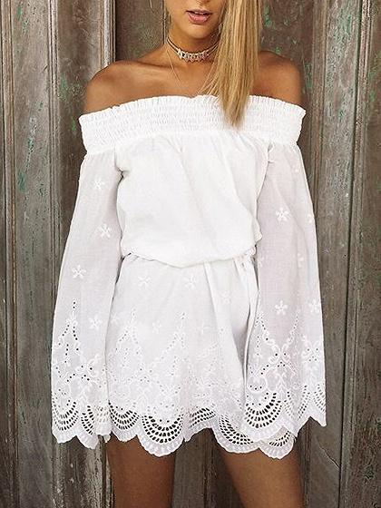 DaysCloth White Stretch Off Shoulder Flared Sleeve Scalloped Hem Mini Dress