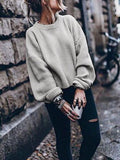 Retro Knit Bishop Solid Color Loose Sweater