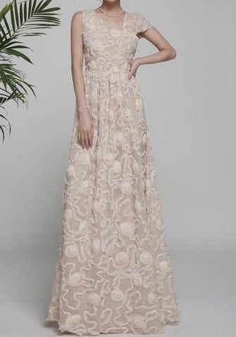 Apricot Patchwork Asymmetric Shoulder Pleated Print Elegant Maxi Dress