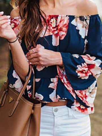 Casual Bateau Off Shoulder Big Floral Print Top