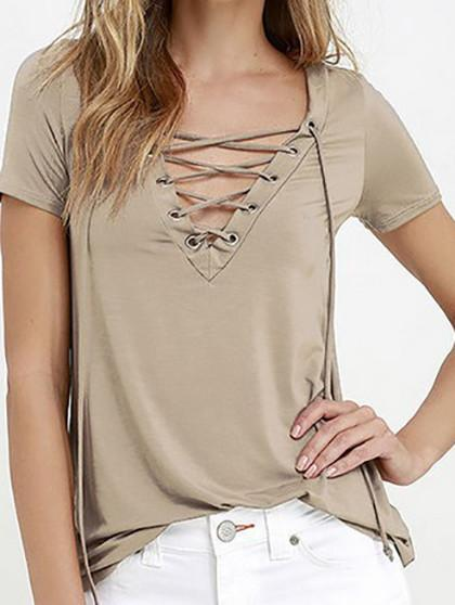 Casual V neck Criss Cross Solid Color Top