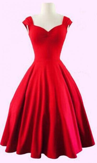 DaysCloth Red Plain Shoulder-Strap Pleated V-neck Audrey Hepburn Vintage Dress