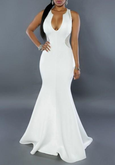 DaysCloth White Patchwork Zipper Pleated Grenadine Plunging Neckline Mermaid Cocktail Prom Maxi Dress