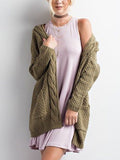 Pink Pocket Cable Open Front Cardigan