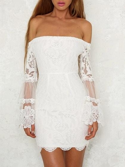DaysCloth White Off Shoulder Flare Sleeve Lace Bodycon Mini Dress