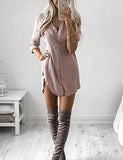 Social Hour Solid Color Shirt Dress