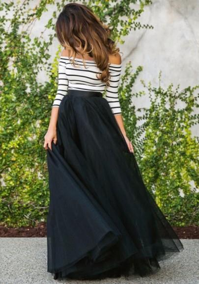 DaysCloth Black Patchwork White Striped Pleated Grenadine Boat Neck Maxi Dress