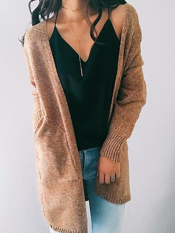 DaysCloth Casual Knit Solid Color Loose Cardigan Coat