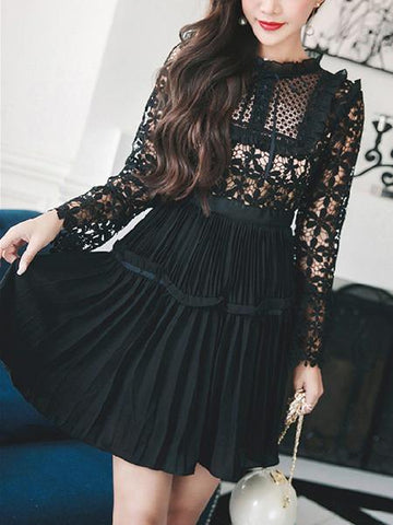 DaysCloth Black Lace Panel Cut Out Detail Flare Sleeve Mini Dress
