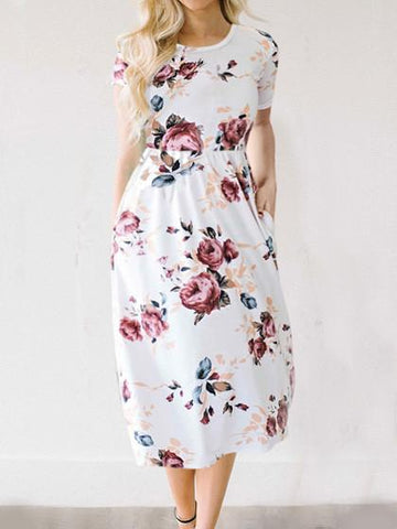 DaysCloth Feeling Gorgeous Floral Print Dress