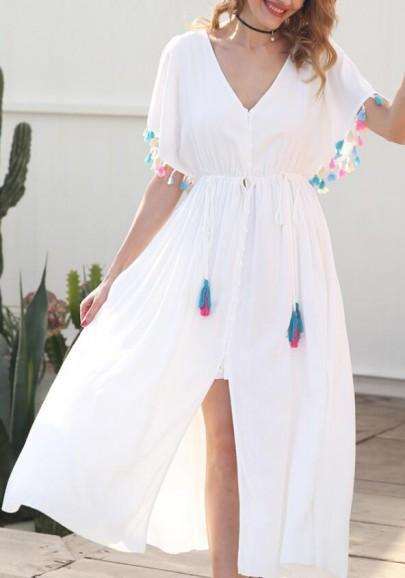 DaysCloth White Tassel Drawstring Lace-Up Buttons Cut Out Slit V-neck Flowy Bohemian Maxi Dress