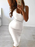 Sexy Sleeveless Bodycon Solid Color Dress