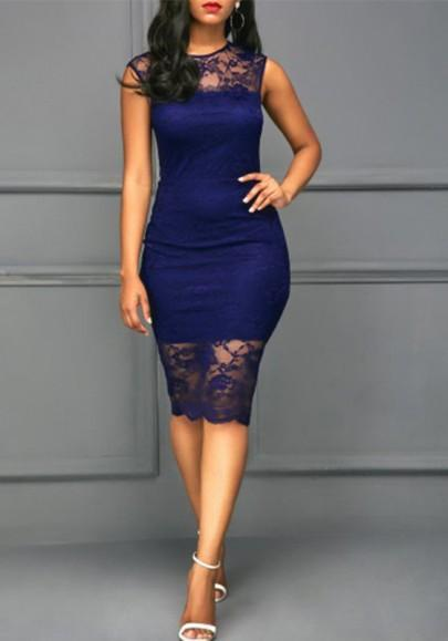 Navy Blue Patchwork Lace Bodycon Round Neck Sleeveless Midi Dress