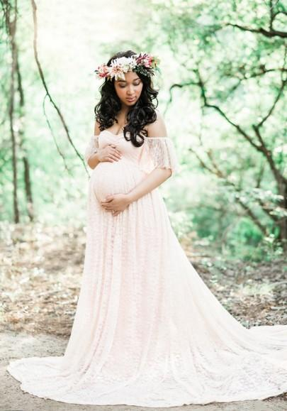 DaysCloth White Bandeau Lace Pleated Off Shoulder Floor Length Elegant Maternity Maxi Dress