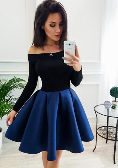 DaysCloth Navy Blue Off Shoulder Pleated Two Piece Tutu Skater Cute Party Mini Dress