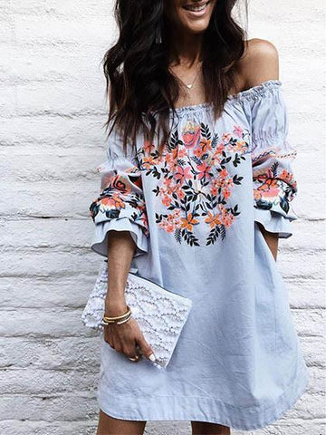 DaysCloth Cute Off Shoulder Floral Print Dress