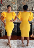 Yellow Zipper Ruffle Short Sleeve Bodycon Clubwear Elegant Midi Dress