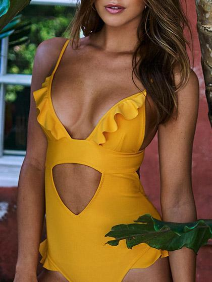 Stylish Sexy Yellow Open Belly Flounce One-piece Bikini