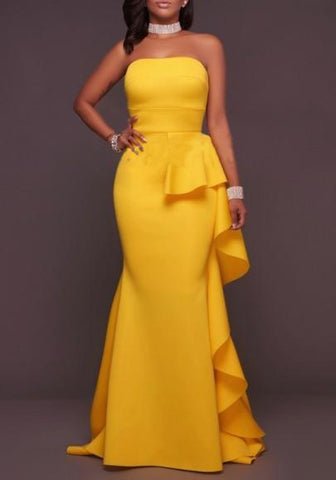 DaysCloth Yellow Mermaid Bandeau Ruffle Irregular Draped Off Shoulder Cocktail Party Maxi Dress