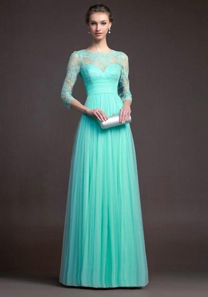 DaysCloth Turquoise Green Lace Pleated 3/4 Sleeve Elegant Fashion Ball Gown Prom Maxi Dress