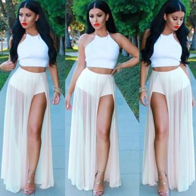 DaysCloth White 2 Pieces Sleeveless Halter Crop Top High Waisted High Slit Sheer Thigh Split Maxi Dress