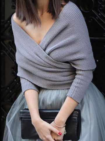 Fashion Knit Solid Color Long Sleeve Cape Cardigan